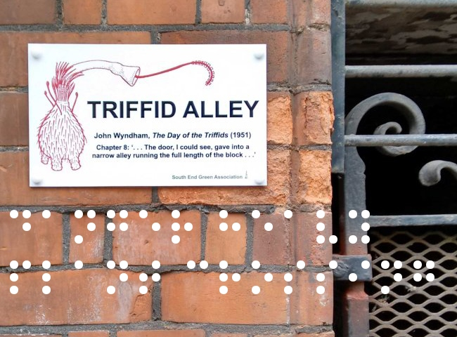 Triffid Alley sign in situ